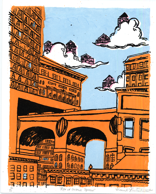 City with houses floating in clouds, LSU BFA Studio Art Printmaking