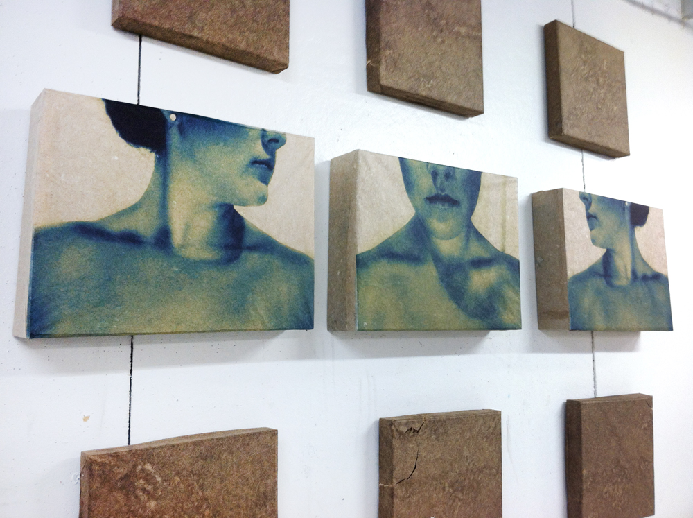 three prints of woman's jaw, collarbones. LSU BFA MFA Studio Art Printmaking Papermaking