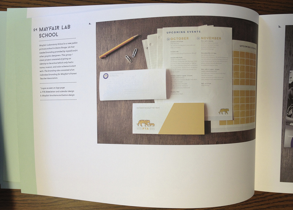 Mayfair Lab School book design, LSU BFA Studio Art Graphic Design