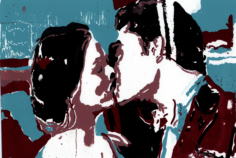 Couple kissing, LSU BFA Studio Art Printmaking