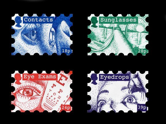 "stamps with text: ""contacts, sunglasses, eye exams, eyedrops"" LSU BFA Studio Art Graphic Design"