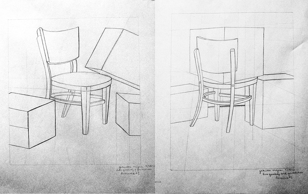 Sketch of chair. BFA Studio Art Foundations