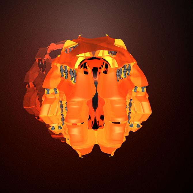 Glowing orange shape, LSU BFA Studio Art Digital Art