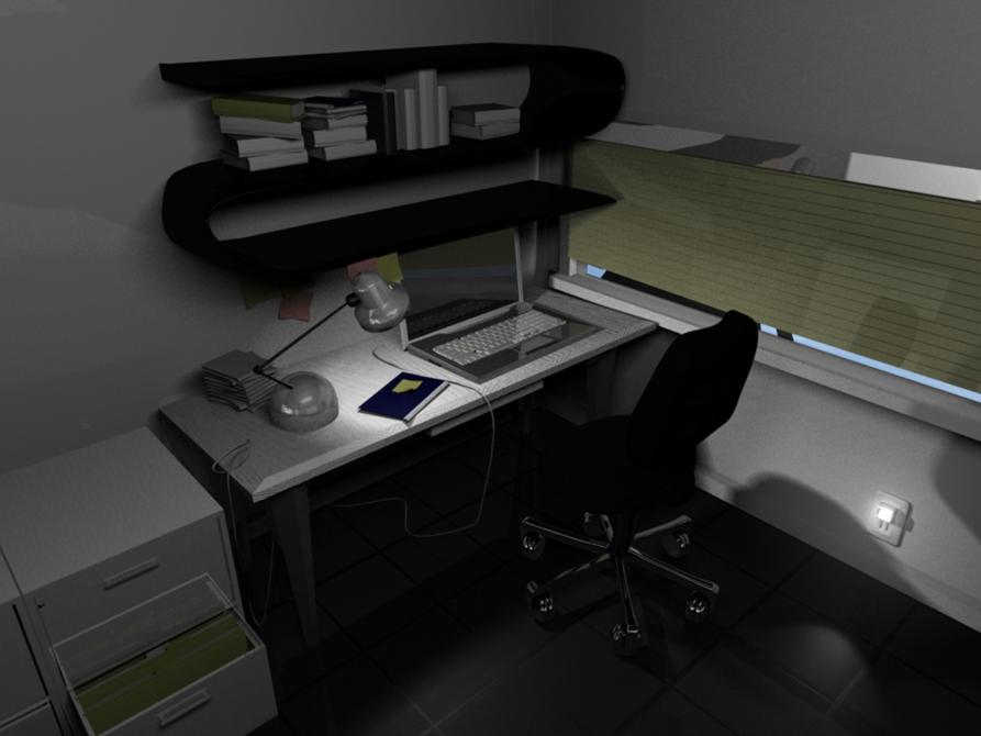 Office with computer on desk, LSU BFA Studio Art Digital Art