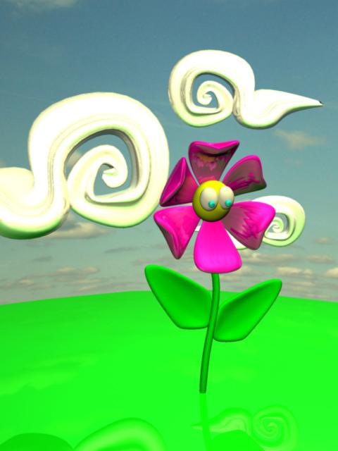Cartoonish flower with eyes. LSU BFA Studio Art Digital Art