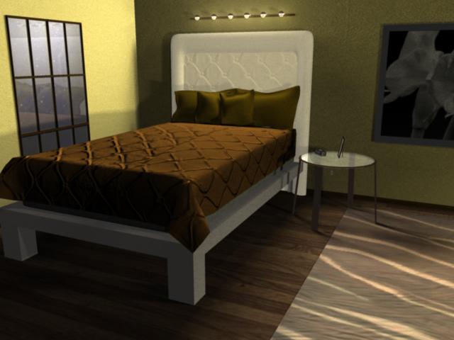 Bedroom with bed, window. LSU BFA Studio Art Digital Art