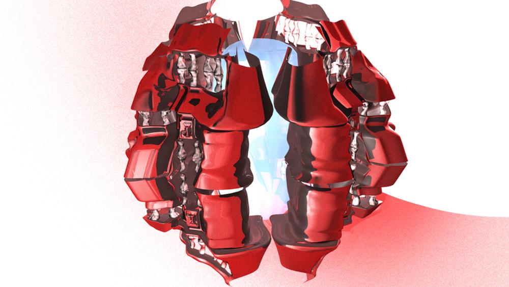 Red abstract simulation, LSU BFA Studio Art Digital Art