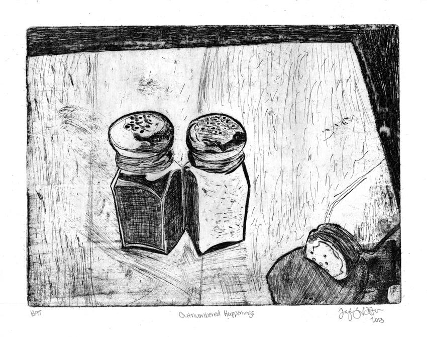 Drawing of salt and pepper shakers, LSU BFA Studio Art Printmaking