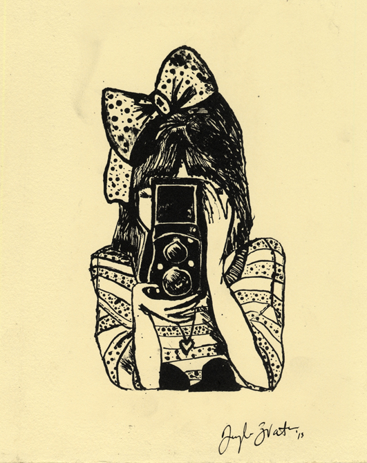 Drawing girl with bow and camera in front of face, LSU BFA Studio Art Printmaking