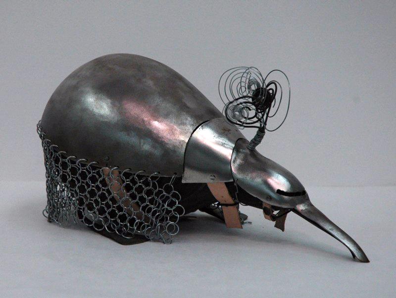 Metal sculpture like armadillo. LSU BFA Studio Art Sculpture