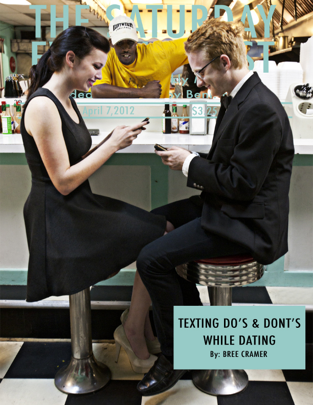 "Magazine cover image of man and woman in diner, text ""texting do's and dont's while datingLSU BFA Studio Art Photography"