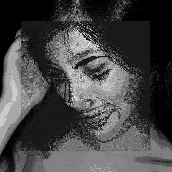 Digital rendering of smiling woman, LSU BFA Studio Art Digital Art