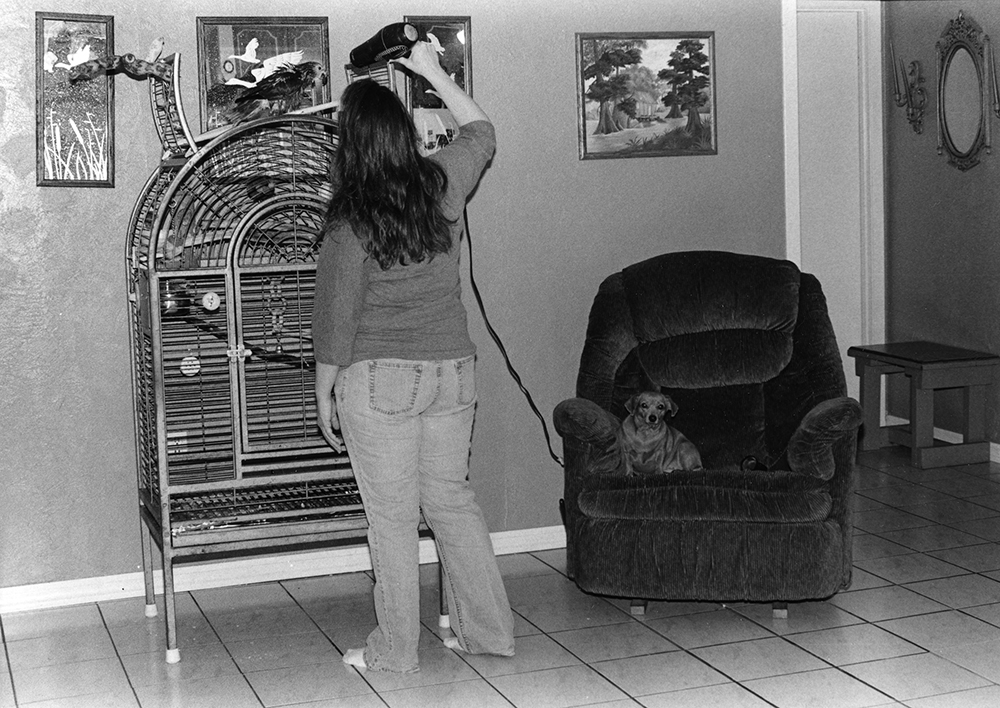 Woman in home with dog