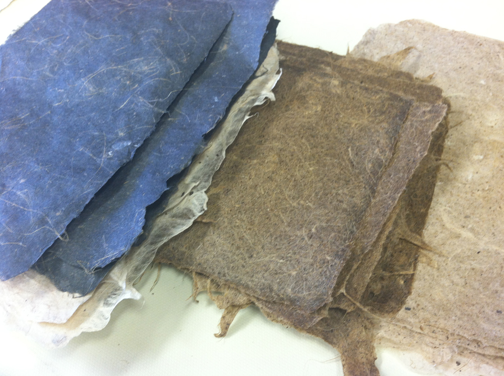 Closeup of blue and brown paper. LSU BFA MFA Studio Art Printmaking Papermaking