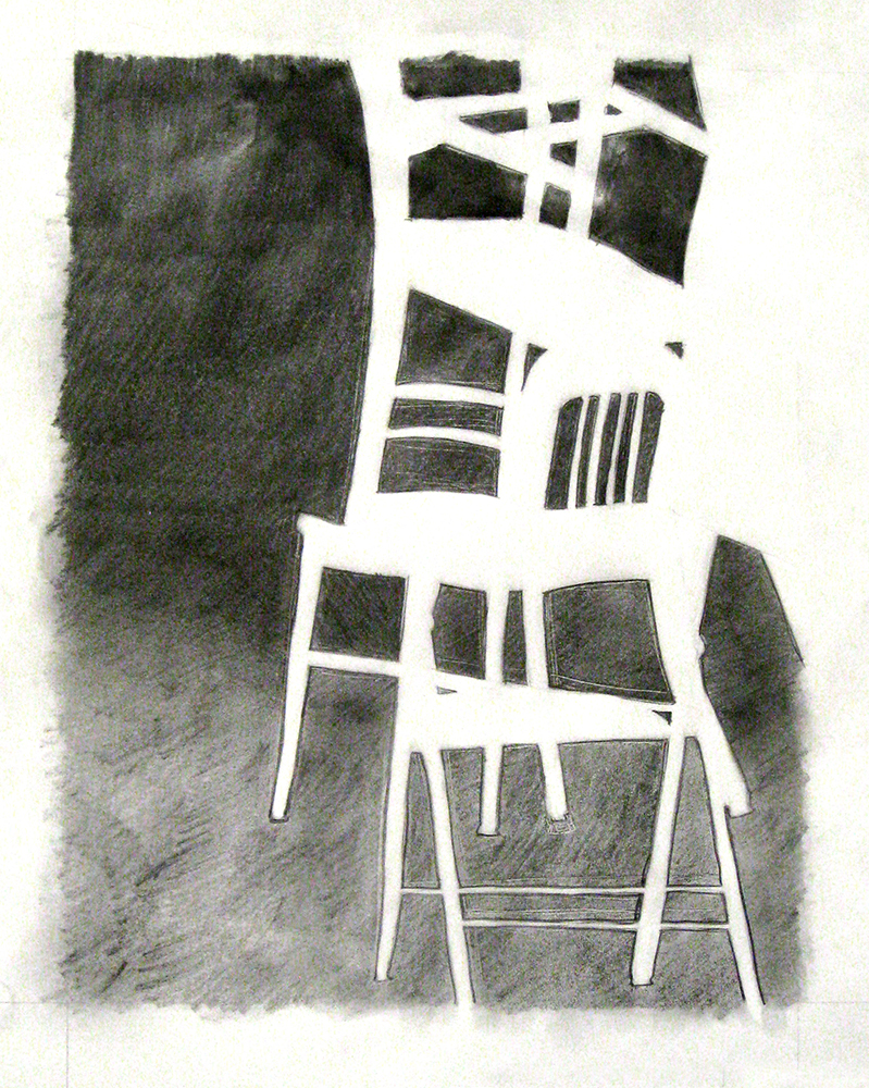Chairs stacked, charcoal drawing. BFA Studio Art Foundations