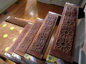 Carved design in steps, lsu ceramics alumni work