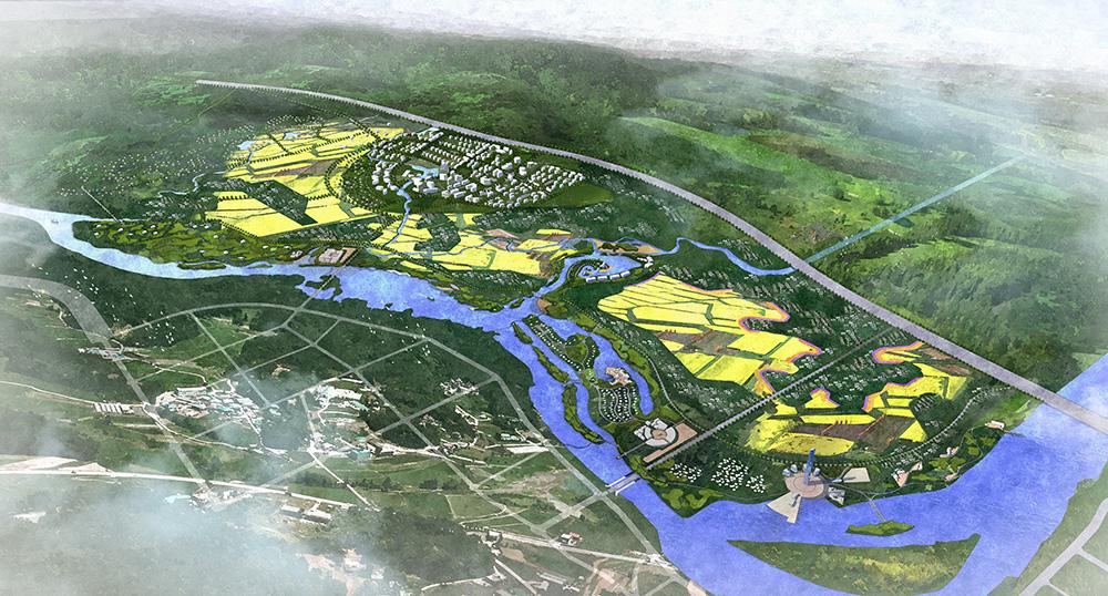aerial rendering village, lsu landscape architecture work