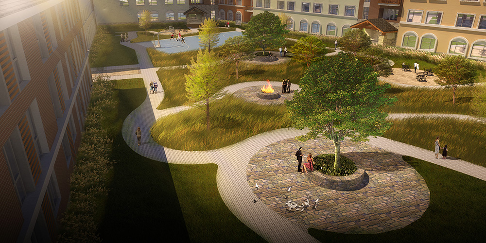 Rendering of plaza, lsu landscape architecture work