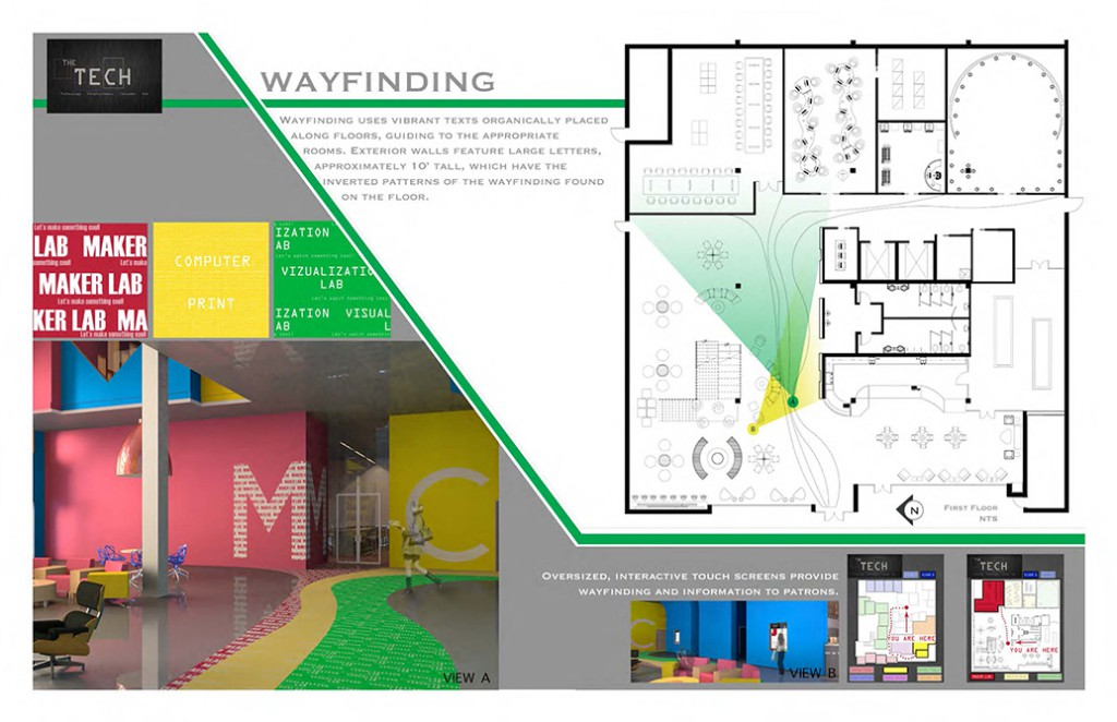 Wayfinding diagram, lsu interior design student work
