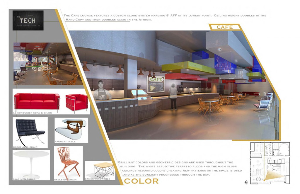 Cafe color scheme, lsu interior design student work