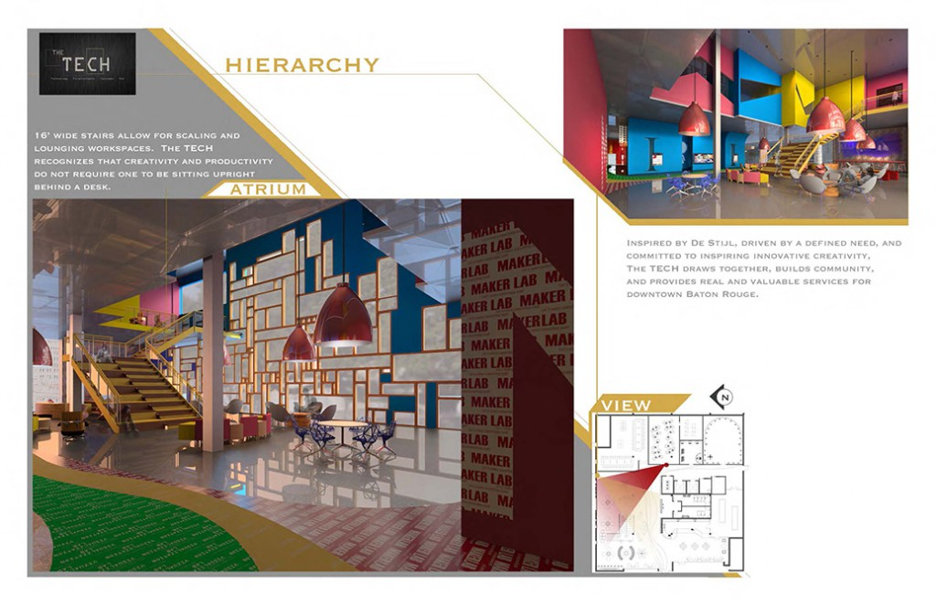 hierarchy concept, atrium design, lsu interior design student work