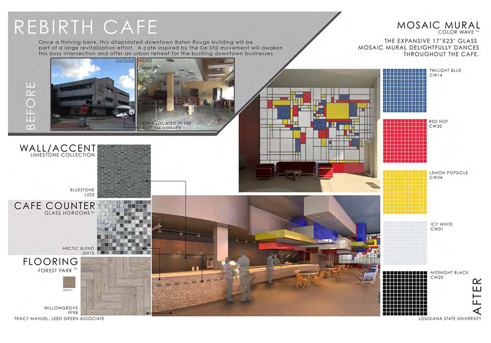 Rebirth cafe mosaic mural color concept, lsu interior design student work