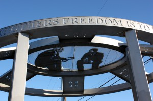 "steel sculpture with word ""freedom""; lsu sculpture alumni work"