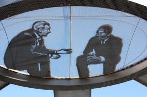 Two men, lsu sculpture alumni work