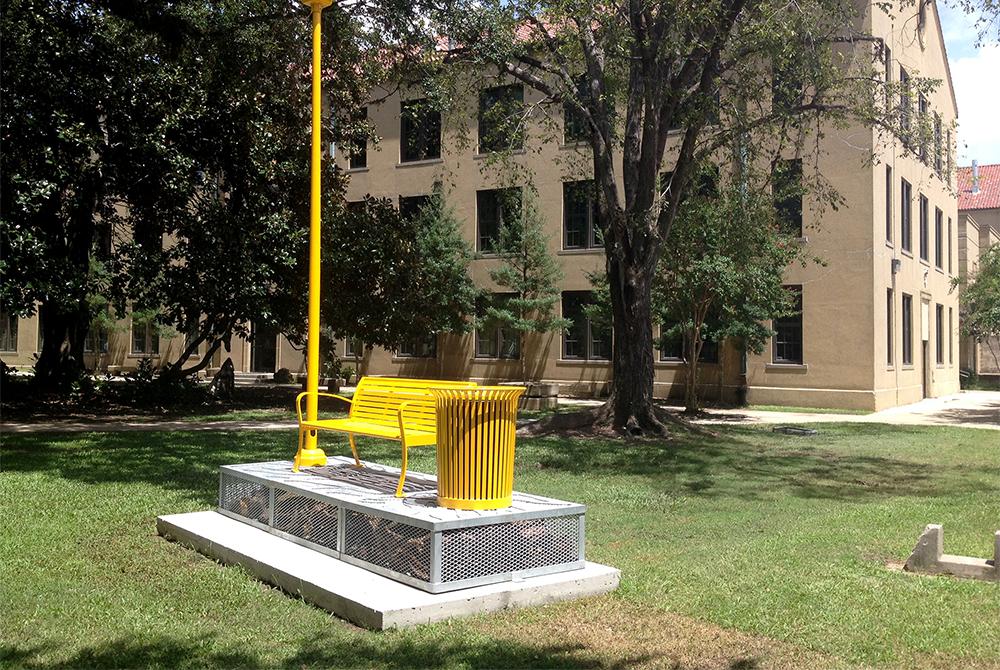 yellow bench sculpture