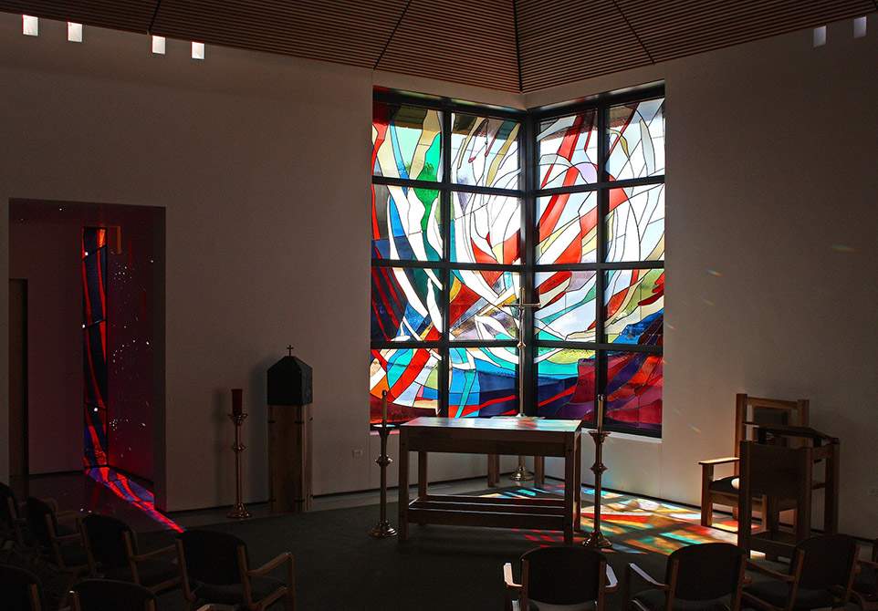 stained glass window in corner