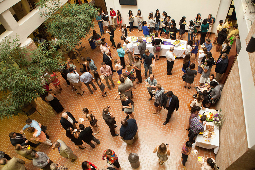 aerial view of reception in design building atrium