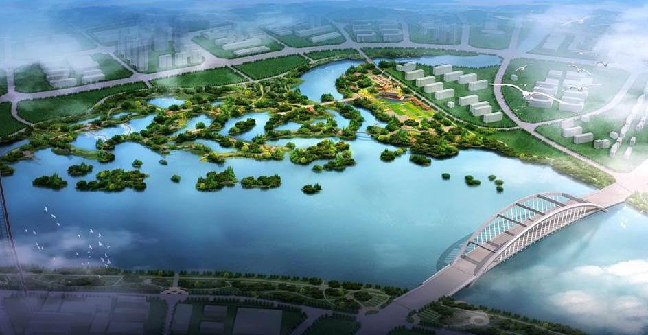XinJin Baihetan National Wetland Park aerial view