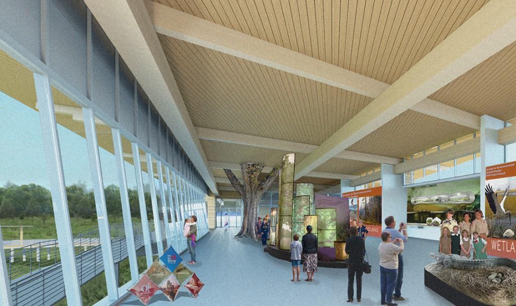 rendering of interior, lsu architecture alumni work