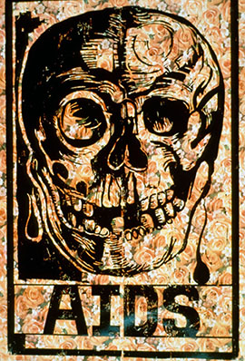 "print with skull, ""AIDS"""