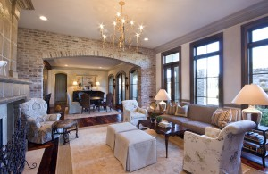 living room with chandelier, elegant furniture, lsu interior design alumni work