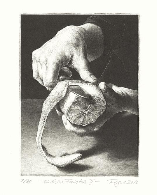 hands peeling orange