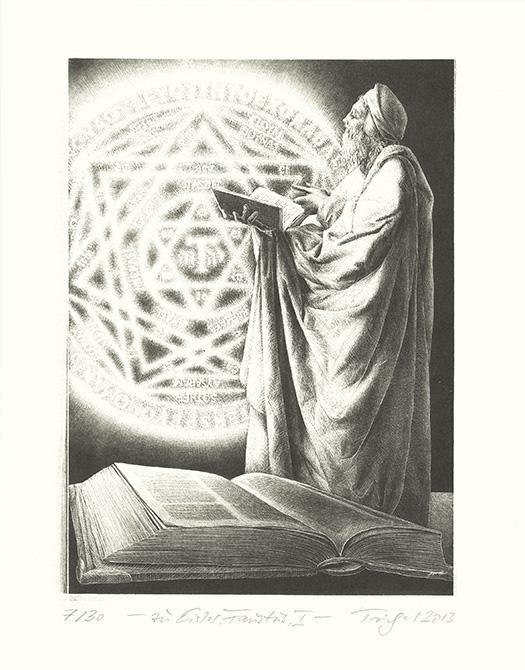 religious figure holding book