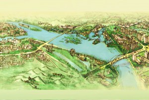 drawing of river through development