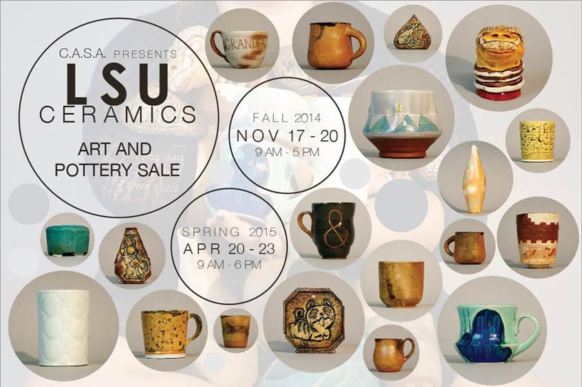 Graphic advertising LSU ceramics sale