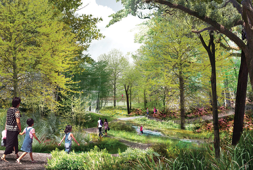 Lush park with people walking on path through trees. lsu landscape architecture alumni work