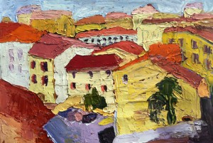 Painting of colorful yellow buildings with red roofs
