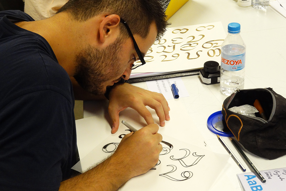A student working in studio