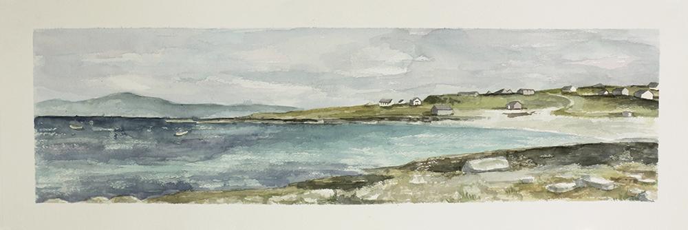 watercolor painting of Irish coast
