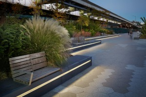 esplanade with benches and bushes, lsu interior design alumni work