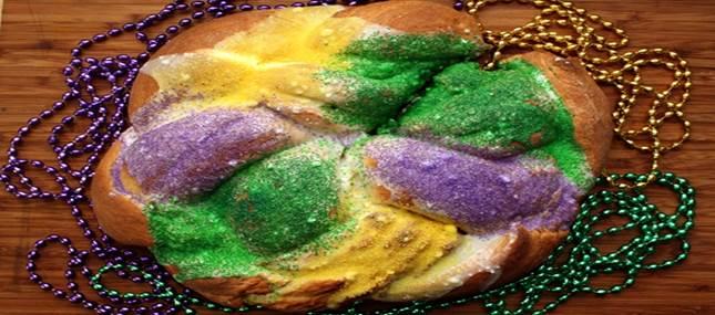 King Cake and Mardi Gras beads