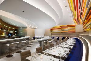 Lighting design in modern restaurant interior; lsu interior design alumni work