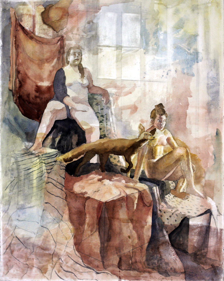 painting of two women by bristie smith, lsu art 4889 advanced figure drawing