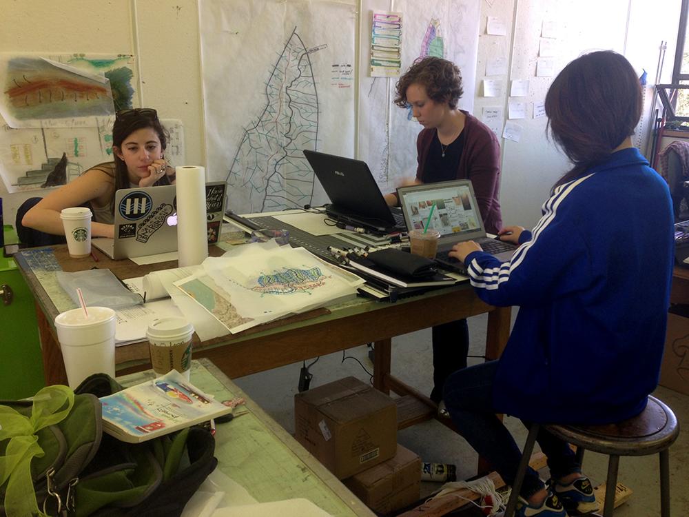 students working in studio, lsu landscape architecture design week