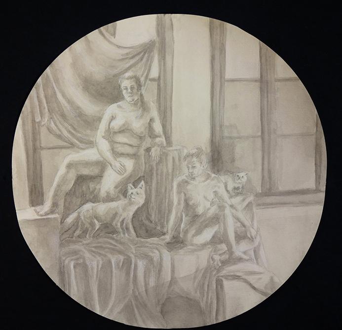 figures in circle, by ellen farrar, lsu art 4889 advanced figure drawing