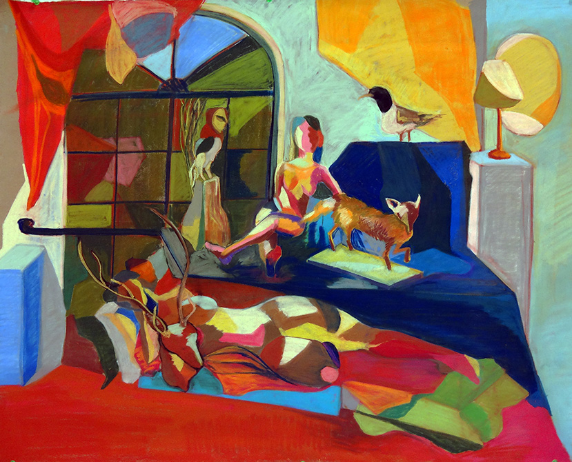 colorful abstract scene of woman and animals, by michelle marks, lsu art 4889 advanced figure drawing